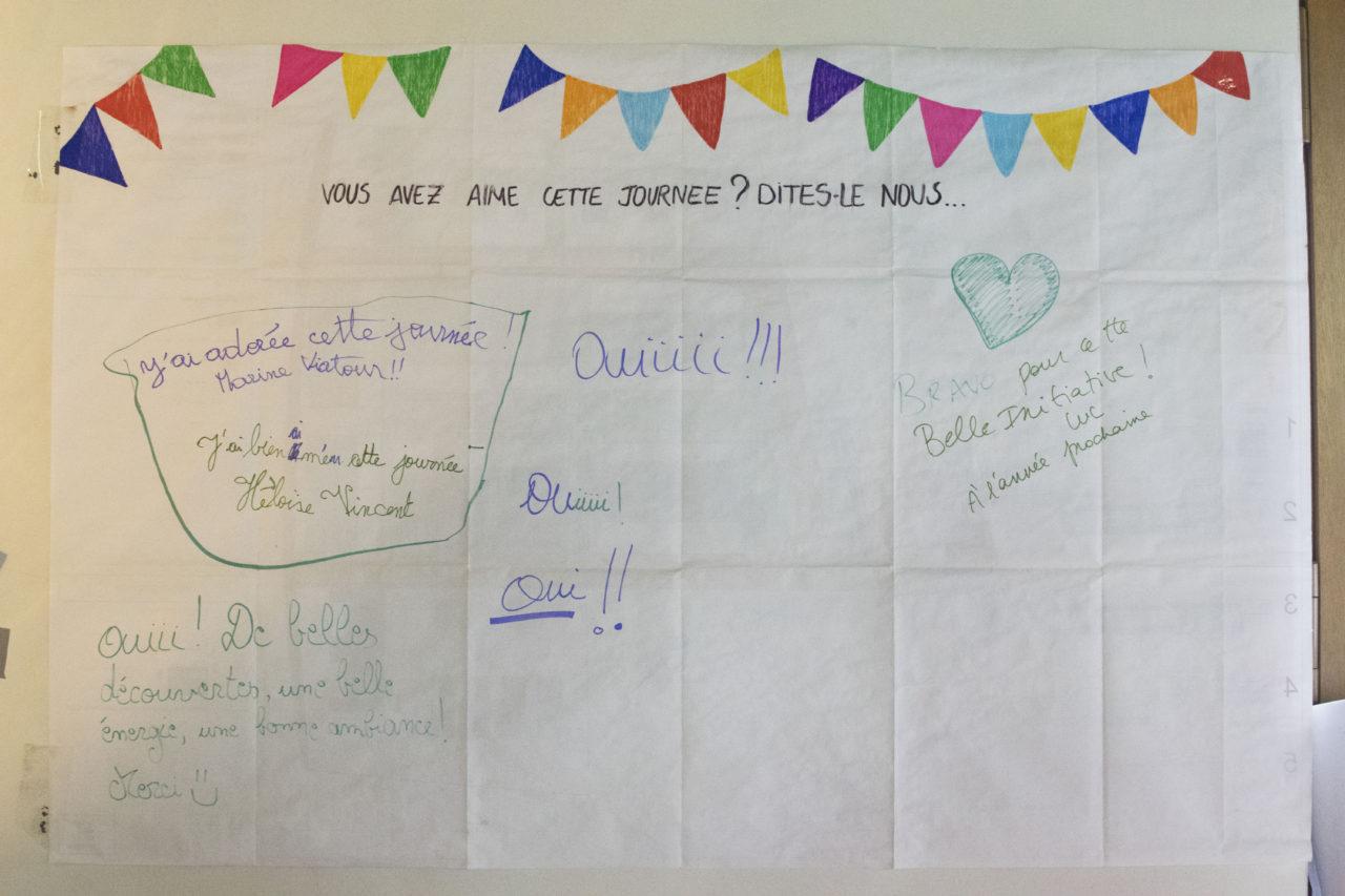 Panneau de feedback avis des participants Fête de la Transition Braine l'Alleud